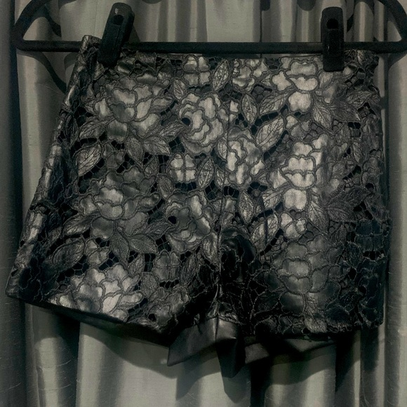 Bebe Faux Leather with Lace Short